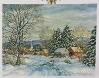 Marion Gray Traver FRONT ONLY Snowy Winter Scene Christmas Vintage Card