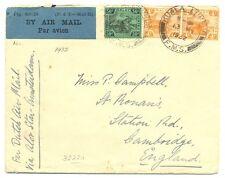 MALAYA 1932  FLIGHT CV  KUALA LUMPUR=LABEL P & T MAIL 25 = TO ENGLAND  F/VF