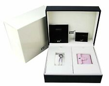 MONTBLANC SET BOHEME PINK LEATHER ALARM CLOCK WATCH SWISS BRACELET 105769 NEW