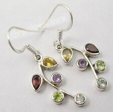 925 Silber ! MULTICOLOR Edelsteine Blatt Stil Wunderschön Ohrringe Ohrhänger