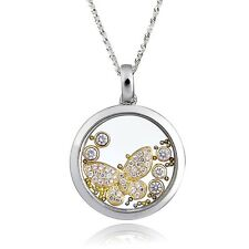 De Buman Two-tone CZ & Crystal Butterfly Necklace 925 Silver Chain 18 INCHES