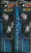 ZODIAC (2013) ASTROLOGY HOROSCOPE AQUARIUS BIC LIGHTER SET OF 2 MADE IN THE USA