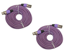 2 PURPLE Premium 50 FT XLR 15m meter Microphone Male to Female EXTENSION Cable