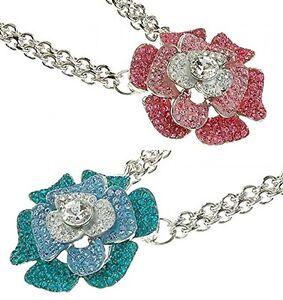 Designer Summer Chic Enamel Rose Flower Statement Necklace w/ Swarovski Crystals