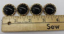 "Gold Rim w/ Black Smooth Jewel Center Plastic Buttons: Set of 4; 1"""