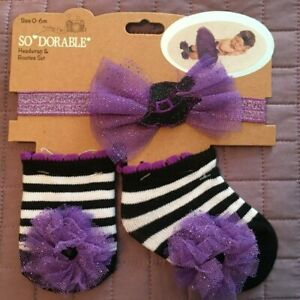 Infant Baby Halloween 0-6M Headwrap & Booties Set Black Purple Tulle Sparkly NEW