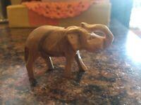 """Vintage Miniature Primitive Carved Elephant African FOLK ART CARVING 2 3/4"""" long"""