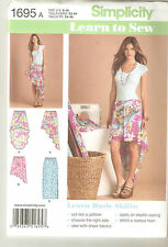Simplicity Sewing Pattern 1695 Miss Elastic Waisted Pull On Skirts Sz 6-18