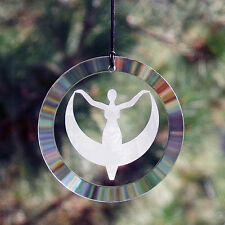 Goddess Moon Etched Glass Suncatcher Ornament *Beautiful* Wiccan Pagan Decor AG7