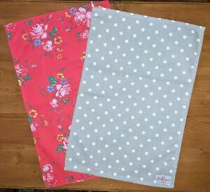 2 Cath Kidston Tea Towels.Field Rose and Polka Dot,Free UK 1st class post