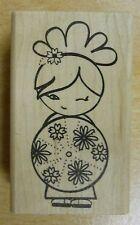Kokeshi Flirty Girl Rubber Stamp - JudiKins