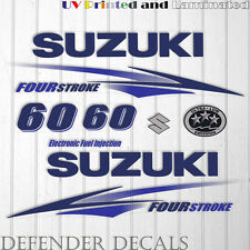 Suzuki 60 hp Four Stroke outboard engine decal sticker set kit reproduction BLUE