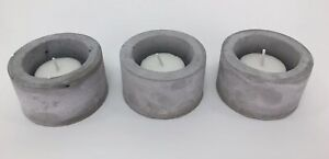 Set of 3 Small Cement Tealight Pot Candle Round Cylinder Holders