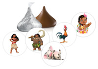108 Moana Hershey kiss candy stickers,labels,favors,shower,birthday,party supply