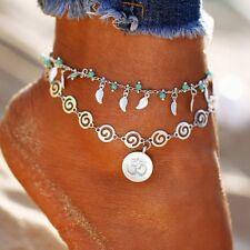 Femmes feuille fleur pendentif multicouche cheville Boho pied chaîne Bracelet FR