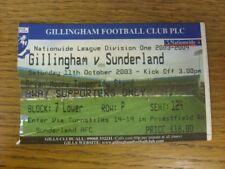 11/10/2003 Ticket: Gillingham v Sunderland  (light fold). Faults with this item