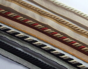 8mm Flanged upholstery piping cord rope trim 1 metre - choice of 6 colours