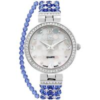 Croton Women's CN207563RHBL Quartz Crystal Accents Blue Bracelet 30mm Watch