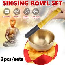1brass Singing Bowl 1wood Stick 1cushion Set Buddhism Prayer Meditation Supplies