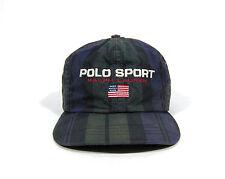 VTG 90S POLO SPORT RALPH LAUREN STRAPBACK HAT CAP BLACKWATCH FLAG SKI STADIUM 92