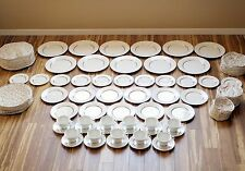 "Oxford Lenox ""White Echo"" Bone China 11 Full Settings, 60pc Set Very Good Cond'n"