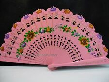 Spanish Flamenco Vintage Wood Wooden Folding Hand Painted Floral Flowers Fan #H