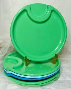 """SET/6 Pampered Chef Plastic Patio Plates w/ Beverage Cup Holder Camping BBQ 10"""""""