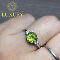 Natural Peridot Solid 925 Sterling Silver Beautiful Engagement Rings for Women