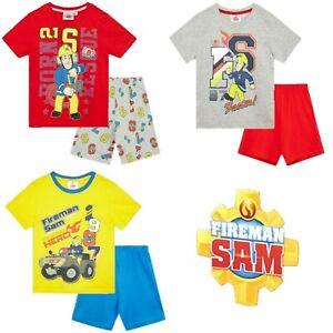 Boys Kids Children Fireman Sam Pyjamas T-Shirt Shorts Set pjs Age 2 3 4 5 6 yrs