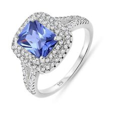 Simulated Radiant Tanzanite Blue Double Halo Sterling Silver Engagement Ring