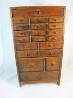 WATCHMAKERS CABINET, 20 DRAWERS, WAXED FINISH C 1920'S, CLOCK WATCH.