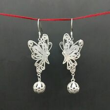 silver butterfly ball earring 1pair Elegant Chinese pure handmade filigree miao