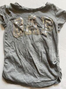 GAP gray Shirt 6 7 Sequin Sparkly Silver Logo Shortsleeve