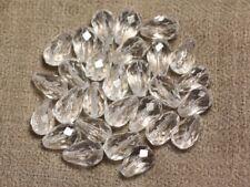 2pc - Perle de Pierre -  Cristal de Roche Quartz Goutte Facettée 12x8mm  4558550