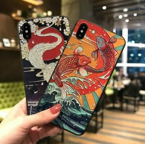 Silicone 3D Relief Chinese Style Embossed Case For iPhone 13 12 11 7 8 SE XR XS