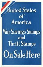 1917 WWI WSS War Savings Stamps On Sale Here Window Poster