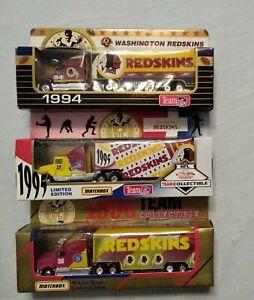 1994 95 96 Matchbox NFL Die Cast Tractor Trailer WASHINGTON REDSKINS Lot Of 3