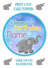 ND5 Elephant  Birthday personalised round cake topper icing