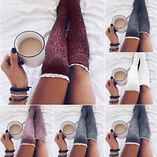 Women Lace Trim Thigh High Over The Knee Socks Winter Warm Knit Long Stockings