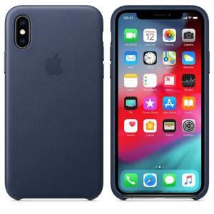 Genuine / Original Apple iPhone XS Leather Case - Midnight Blue - MRWN2ZM/A New