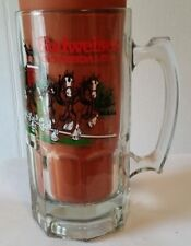 Budweiser 1991 Clydesdale Holiday Glass Beer Mug Stein