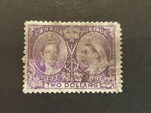 Canada #62 $2 Queen Victoria Jubilee VF smudge cancel used