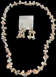 """SeaShell Necklace & Earrings Set, 28"""" Long, Small Sea Shells"""