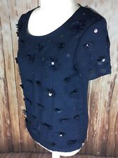 Bnwt Next Uk 10 Pretty Sequined Navy Top Embellished Ladies