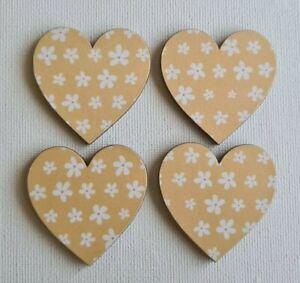 Handmade Set of 4 Wooden Heart Fridge Magnets Gorgeous Yellow Daisies Print