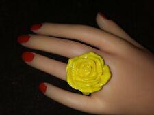 Bold Huge plastic LT YELLOW ROSE flower hippie plastic statement ring SZ 9