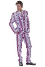 Mens Mr Euro Suit Fun Crazy Pattern Funny Fancy Dress Stag Do Costume size Small