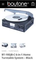 NEW VINTAGE Boytone Home 3 speed Turntable system DJ Music Vinyl Cassette MP3