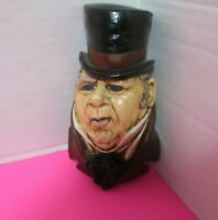 "Vintage 1970s Hand Painted Glazed Ceramic Mr Micawber Head 5""L Wall Hanging"