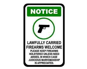Decal Sign Notice Firearms Allowed Judicious Marksmanship Appreciated Business